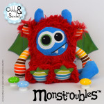 Monstroubles-Batch-4-6b-2015-006-DRAGON-Red-Blue-Green-Stripesl-Odds-and-Soxlets-Copyright-Erica-Martyn-PREVIEW-FRONT