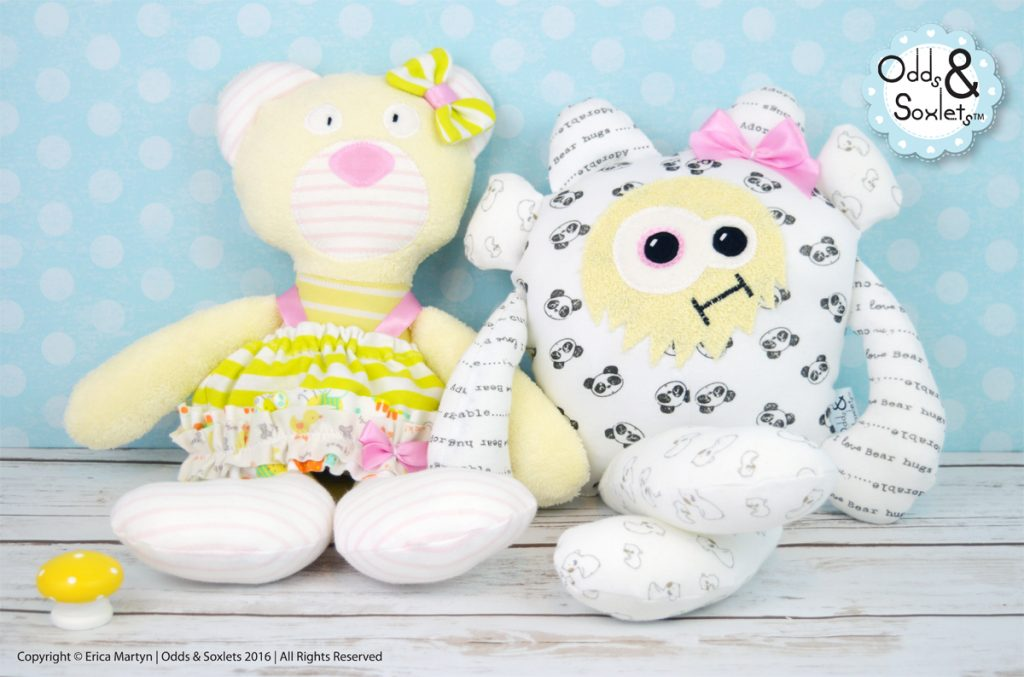 LOUISE-WILLS-FEB-16-Memory-Makes-Odds-and-Soxlets-Copyright-Erica-Martyn-Single-PREVIEW-Memory-Monster-Bearly-Babygrow-DUO